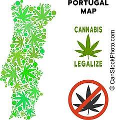 Royalty Free Marijuana Leaves Mosaic Portugal Map - Royalty...