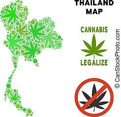 Royalty Free Marijuana Leaves Mosaic Thailand Map - Royalty...