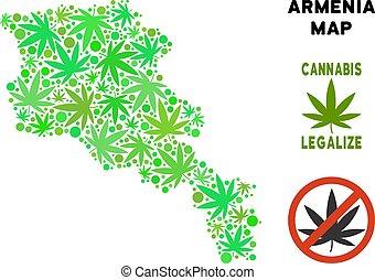 Royalty Free Marijuana Leaves Style Armenia Map - Royalty...