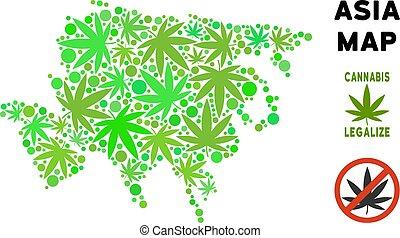 Royalty Free Marijuana Leaves Style Asia Map - Royalty free...