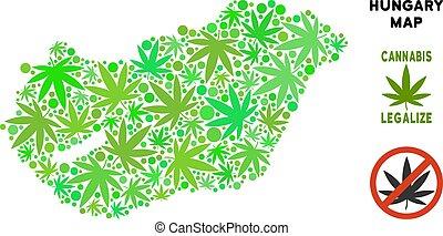Royalty Free Marijuana Leaves Style Hungary Map - Royalty...