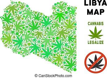 Royalty Free Marijuana Leaves Style Libya Map - Royalty free...