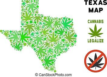 Royalty Free Marijuana Leaves Style Texas Map - Royalty free...