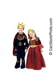 Royalty - Little girl and boy are wearing Halloween...