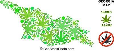 royalty livre, cannabis, folhas, composição, mapa geórgia