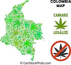 royalty livre, cannabis, folhas, mosaico, colômbia, mapa