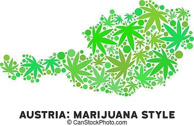 royalty livre, marijuana, folhas, colagem, áustria, mapa