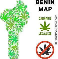 royalty livre, marijuana, folhas, colagem, benin, mapa