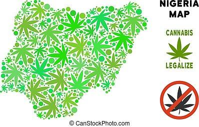 royalty livre, marijuana, folhas, colagem, nigéria, mapa