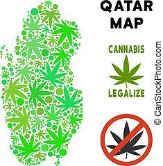 royalty livre, marijuana, folhas, colagem, qatar, mapa