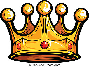 Royalty or Kings Crown Cartoon Vector Image - Golden Crown...