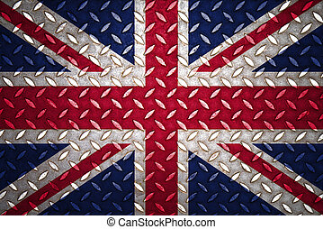 royaume, acier, uni, plaque, seamless, drapeau, diamant