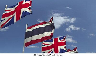 royaume, bleu, uni, ciel, contre, animation, drapeaux, loopable, thaïlande, 3d