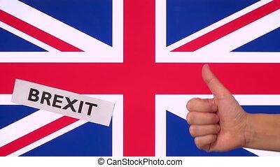 royaume, brexit, uni, mot, pouce, espace, drapeau, haut, approbation, copie, geste