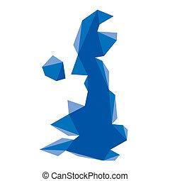 royaume, carte, géométrique, uni