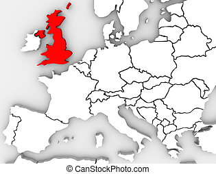 royaume, carte, grand, uni, angleterre, europe nordique, ...