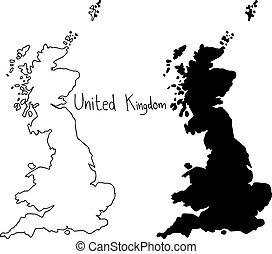 Carte Royaume Uni Noir Et Blanc.Royaume Uni Silhouette Pays Drapeau Arriere Plan Noir