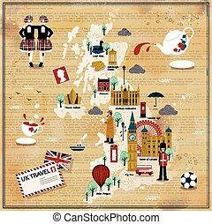 royaume, carte, voyage, uni