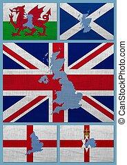 royaume, cartes, uni, drapeaux, pays