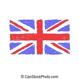 royaume, dessiné, drapeau, uni, main