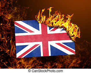royaume, drapeau, uni, -, brûlé