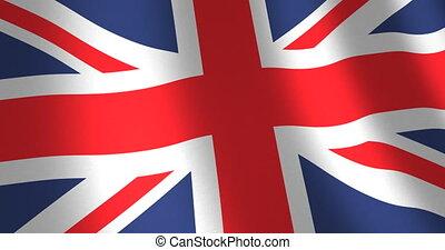 royaume, drapeau, uni, en mouvement, vent