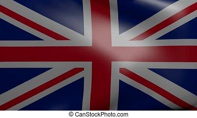 royaume, drapeau, uni, fort, vent