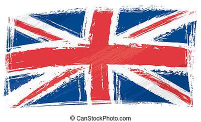 royaume, drapeau, uni, grunge