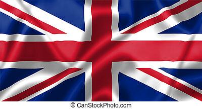 royaume, drapeau, uni, vent, souffler