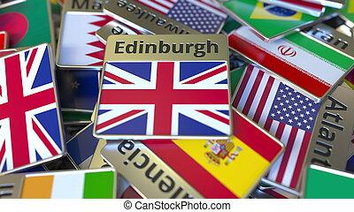 royaume, edimbourg, différent, uni, texte, national, ones., souvenir, aimant, rendre, drapeau, voyager, conceptuel, écusson, ou, 3d