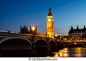 royaume, parlement, ben, maison, uni, grand, nuit, londres
