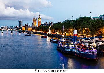 royaume, pont, uni, ben, soir, grand, westminster, londres