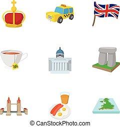 royaume, style, uni, icônes, ensemble, tourisme, dessin animé
