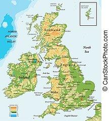 royaume-uni, carte, ireland-physical