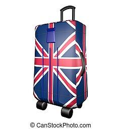 royaume-uni, chariot, valise