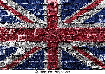 royaume-uni, drapeau, peint, sur, mur brique