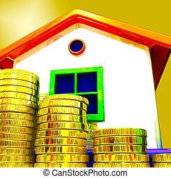 royaume, uni, financier, valuations, moyens, maison, -, espèces, illustration, économique, royaume-uni, prix, 3d