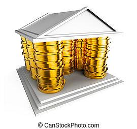 royaume, uni, financier, valuations, moyens, maison, -, illustration, économique, royaume-uni, prix, icône, 3d