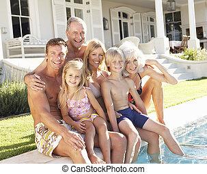 rozšířený dům, povolit, mimo, kaluž, plavání