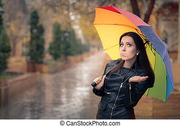 rozczarowany, dziewczyna, w deszczu