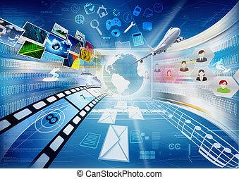 rozdělající, multimedia, internet