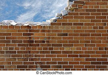 rozdrabniając, ściana, cegła