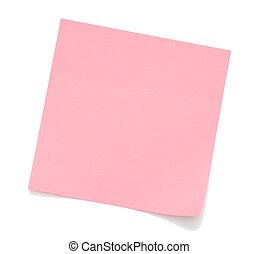 roze, aantekening, leeg, kleverig