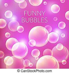 roze, achtergrond., model, abstract, illustratie, zeep, bol, vector, bellen, bal, transparant, rood, cirkel