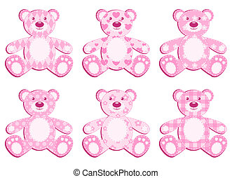 roze, applique, set, bear.