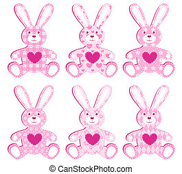 roze, applique, set, hare.