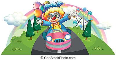 roze, auto, ballons, clown, paardrijden