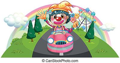 roze, auto, clown, vrouwlijk, paardrijden, vrolijke