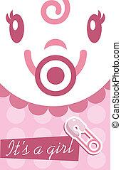 roze, baby meisje, kaart, uitnodiging