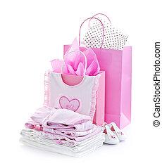 roze, baby stortbad, kadootjes